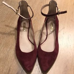 Louise et Cie red suede flats with ankle straps